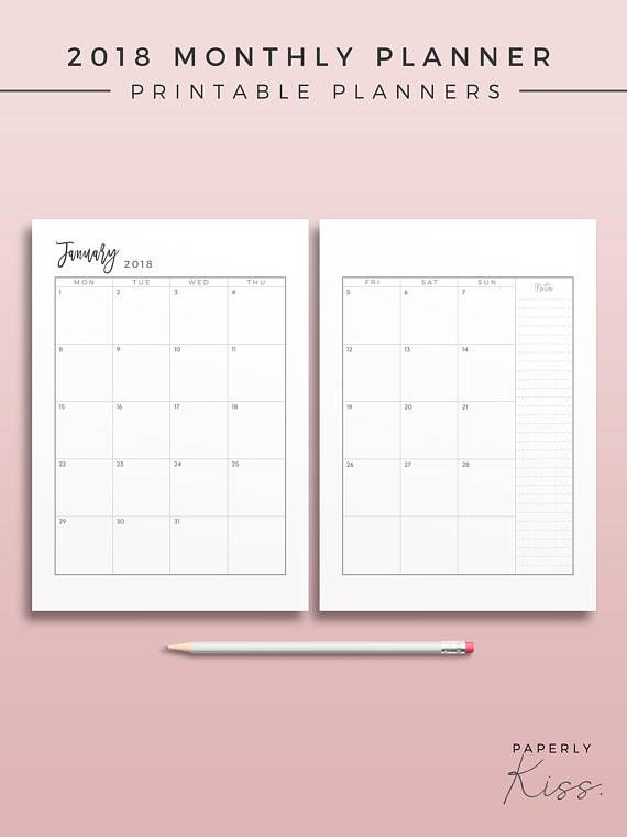 2018 2-Page Monthly Planner, Printable Planner Inserts, Minimal
