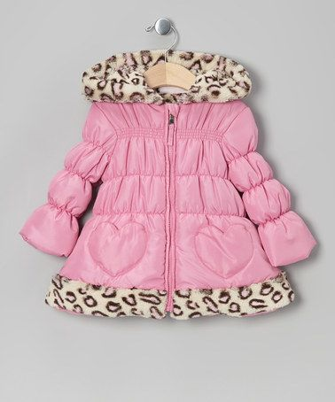 Take a look at this Pink Leopard Heart Puffer Coat - Infant & Toddler by Pistachio on #zulily today!