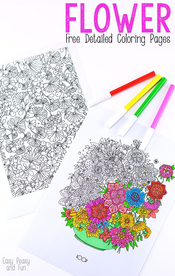 Flower Coloring Pages For Adults Easy peasy Flower and