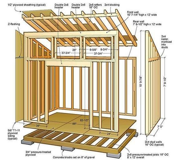 8x12 Lean To Shed Plans 01 Floor Foundation Wall Frame Carpentry How To Build A Shed 2 Free And Simple Pl Diy Storage Shed Plans Shed Design Shed Floor Plans