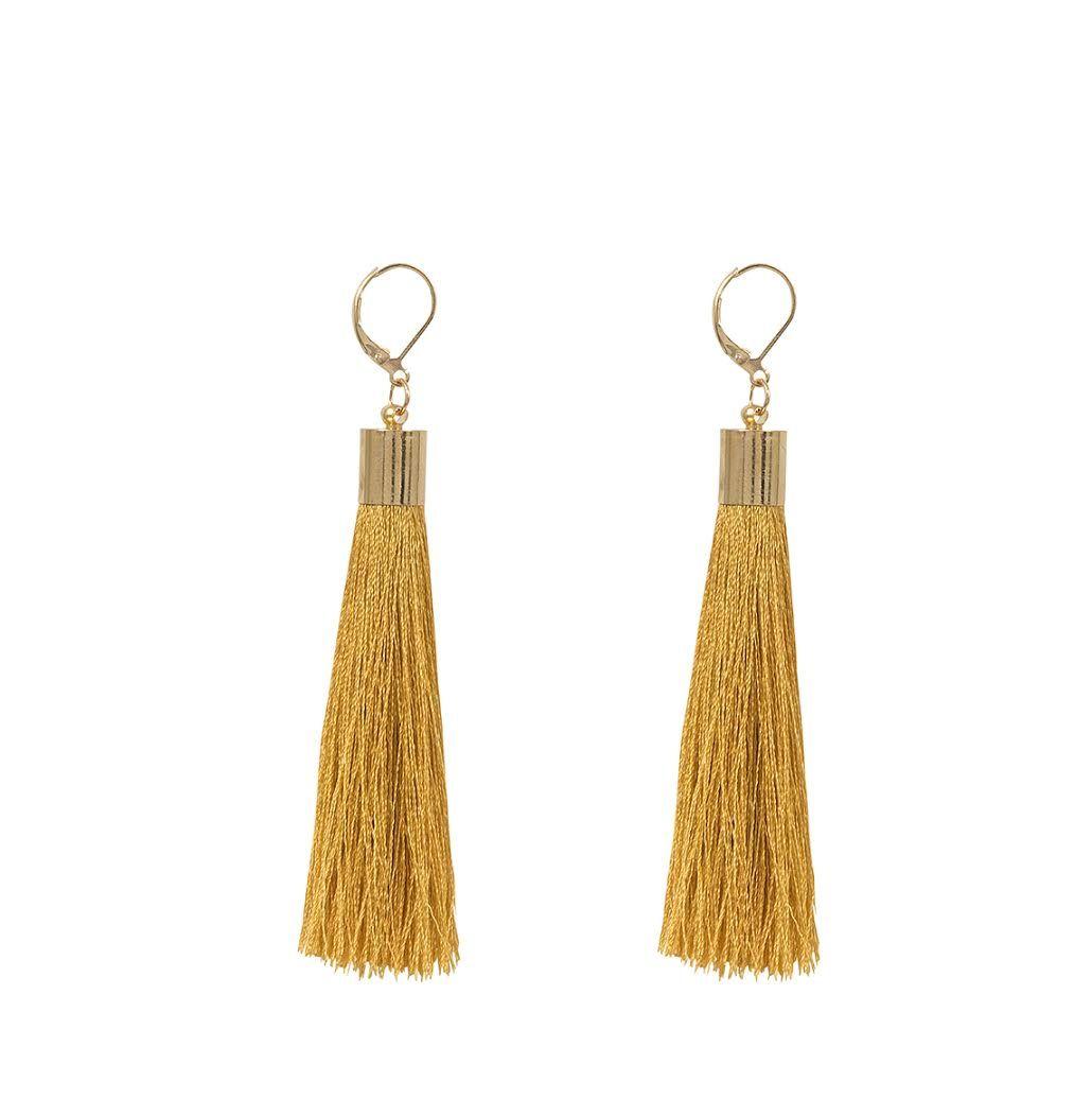 venta minorista 4361c ccb8f SARAFREIKA silk tassel earrings in color mustard ...