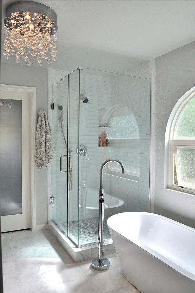 Waterfall Crystal Chandelier By Et2 Frameless Shower And Stand Alone Tub Bathroom Love