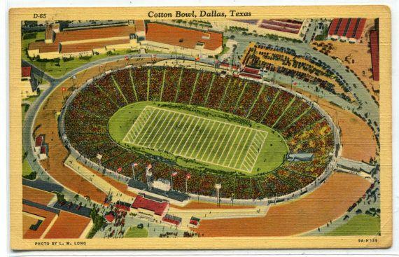 Cotton Bowl Football Stadium Dallas Texas 1943 By Thepostcarddepot Cotton Bowl Texas Poster Texas Art
