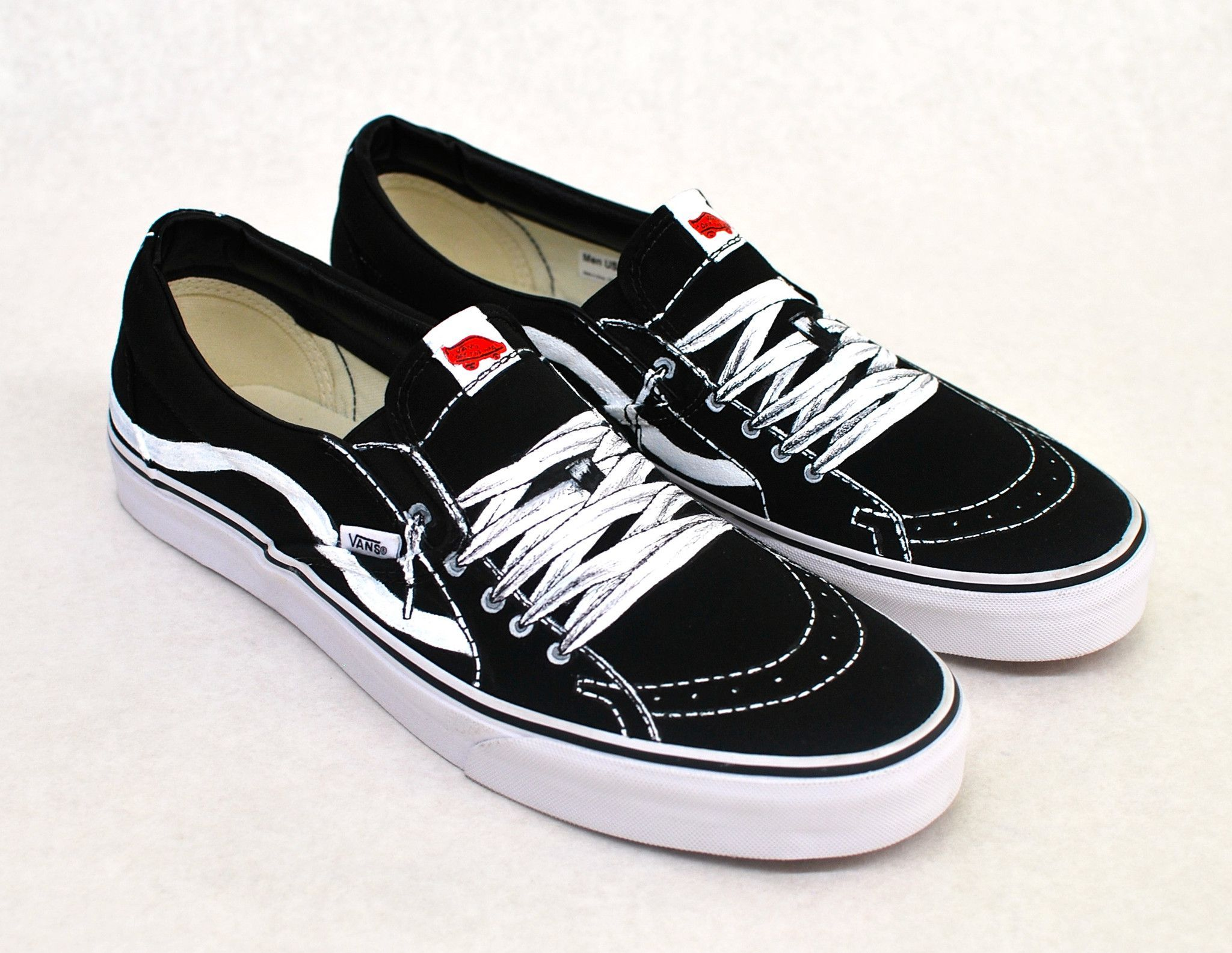 36e6c738e62b32 These one-of-a-kind hand-painted Black Canvas Slip On Vans shoes are  painted with laces on top to look like Vans Sk8 Mids. I can paint a pair of  Vans slip ...