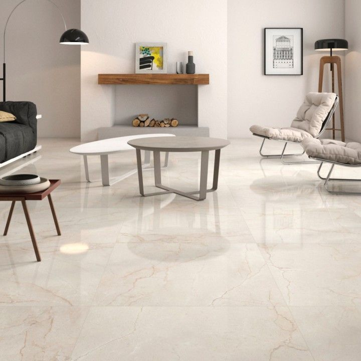 Marble Kitchen Floor Tiles: Classic Cream Gloss Floor Tiles Have A Lovely Marble
