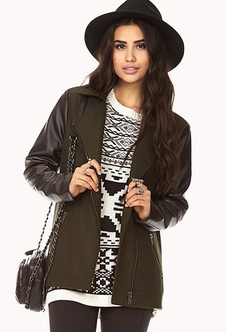 Street-Chic Wool Coat with faux leather sleeves   FOREVER21 - 2059085421