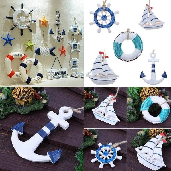5pcs Decorative Anchor Shape Wooden Hanging Wall Hanging Ornament Nautical Decor Wall Ornaments Hanging Ornaments Decorative Signs