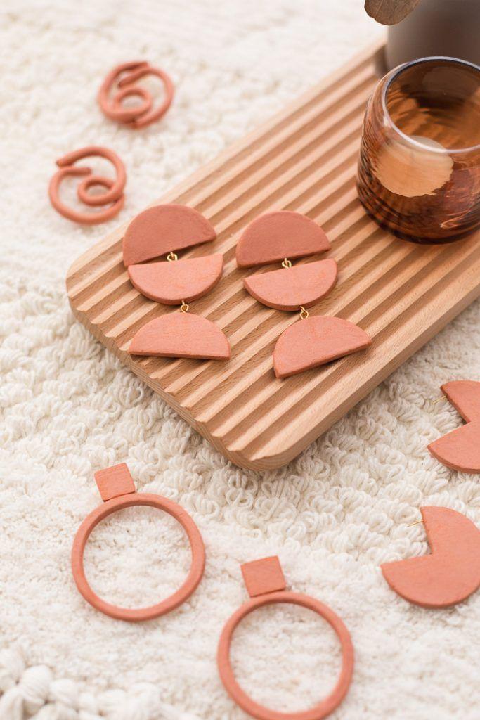 DIY Terracotta Air Dry Clay Earrings - Four Ways   Fall For DIY