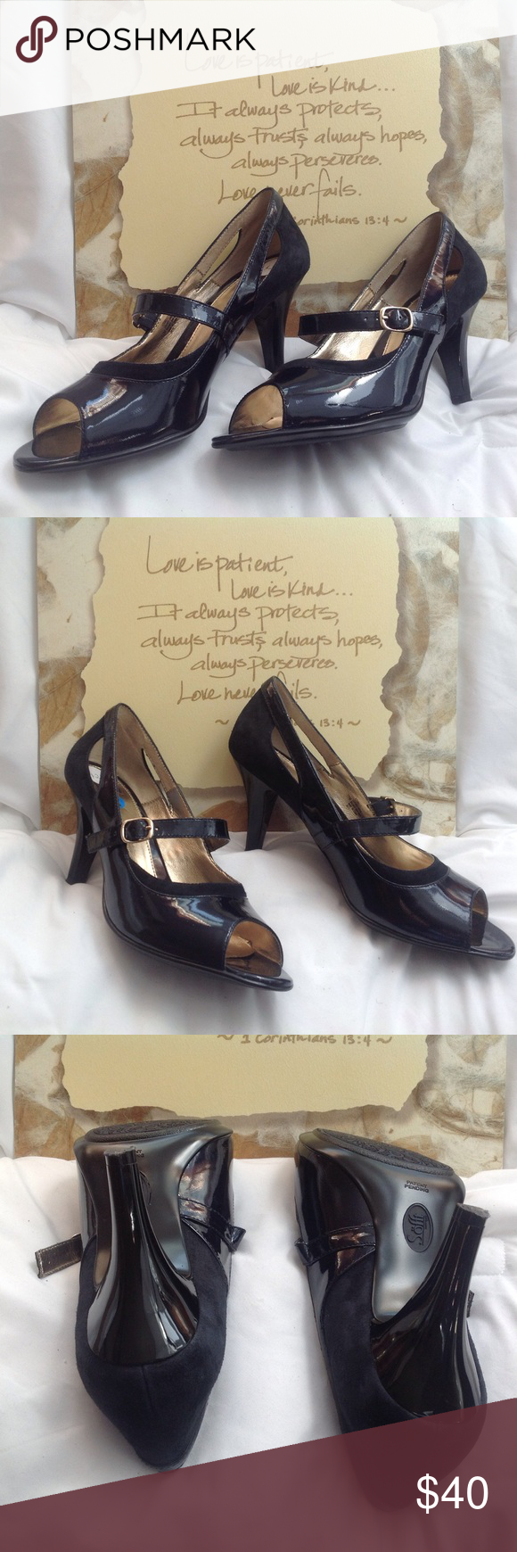 "Sofft Women's Navy Leather Open Toe Shoes 11M NWOT Sofft women's, navy, leather, open-toe shoes with 3 1/2"" heel. Has strap and key hole openings. NWOT. (S0218-005) Sofft Shoes Heels"