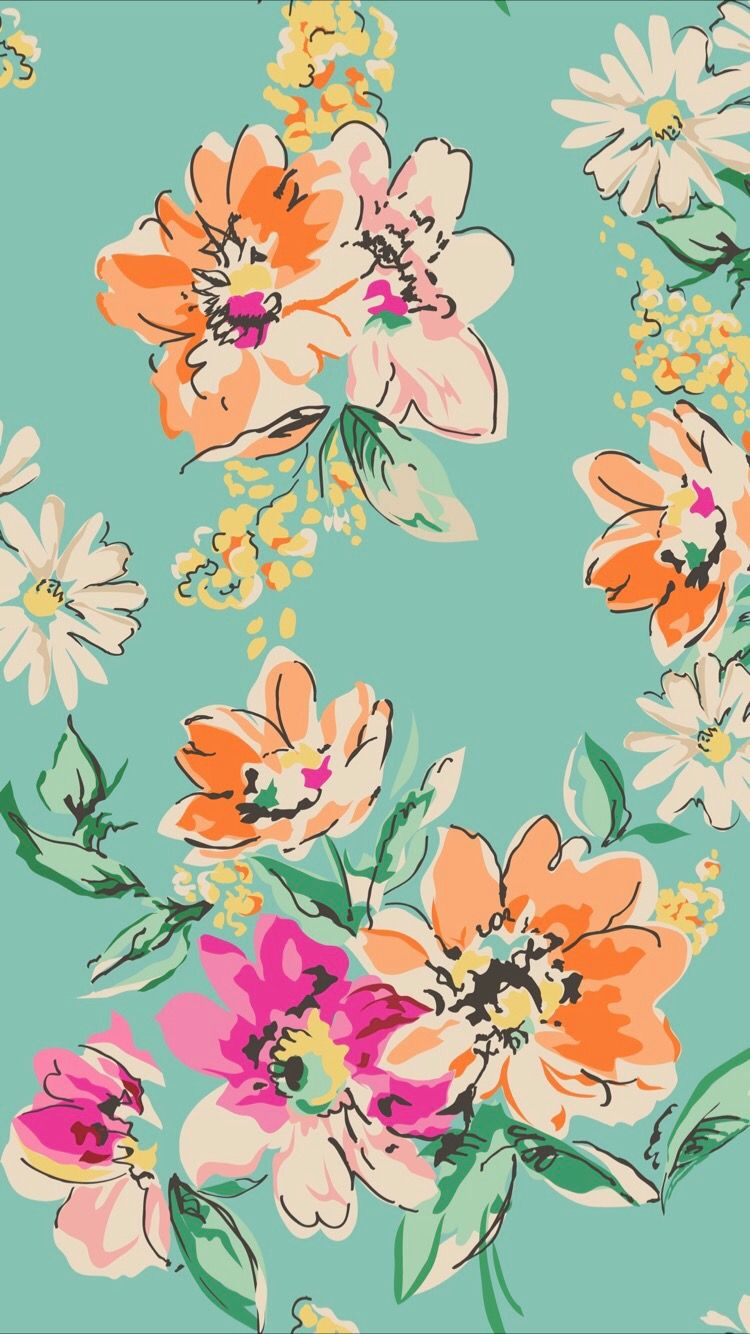 Bright Turquoise Floral Spring Print Orange Magenta Hot Pink