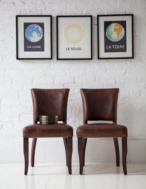ee28150699e2d Vintage Leather Dining Chairs for the dining table and the prints are cool  too!