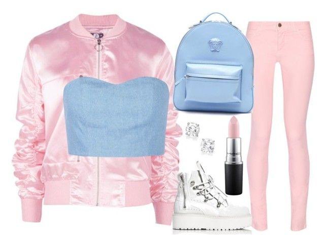 """Pink And Blue"" by iamfabianasm on Polyvore featuring moda, Boohoo, Julien David, Maison Kitsuné, Puma, Versace y MAC Cosmetics"