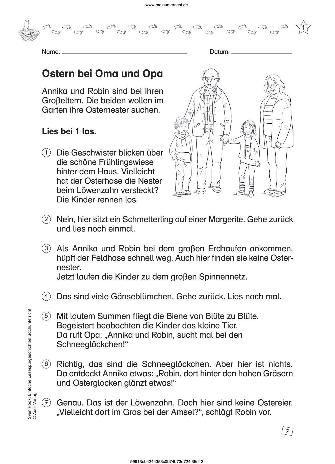 Ostern Im Unterricht An Der Grundschule Grundschule Oma Und Opa