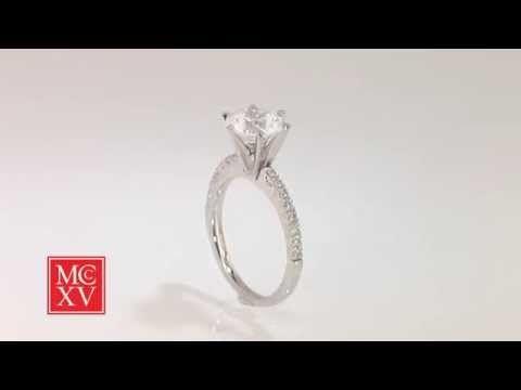 French Set Six Prong Diamond Engagement Ring - Round Cut  $8122 by Diamond Nexus 1812 grown carbon diamond