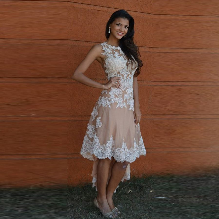 Find more evening dresses information about modest lace high low