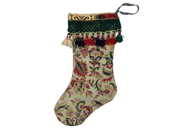 Kantha Quilt Christmas Stocking $195