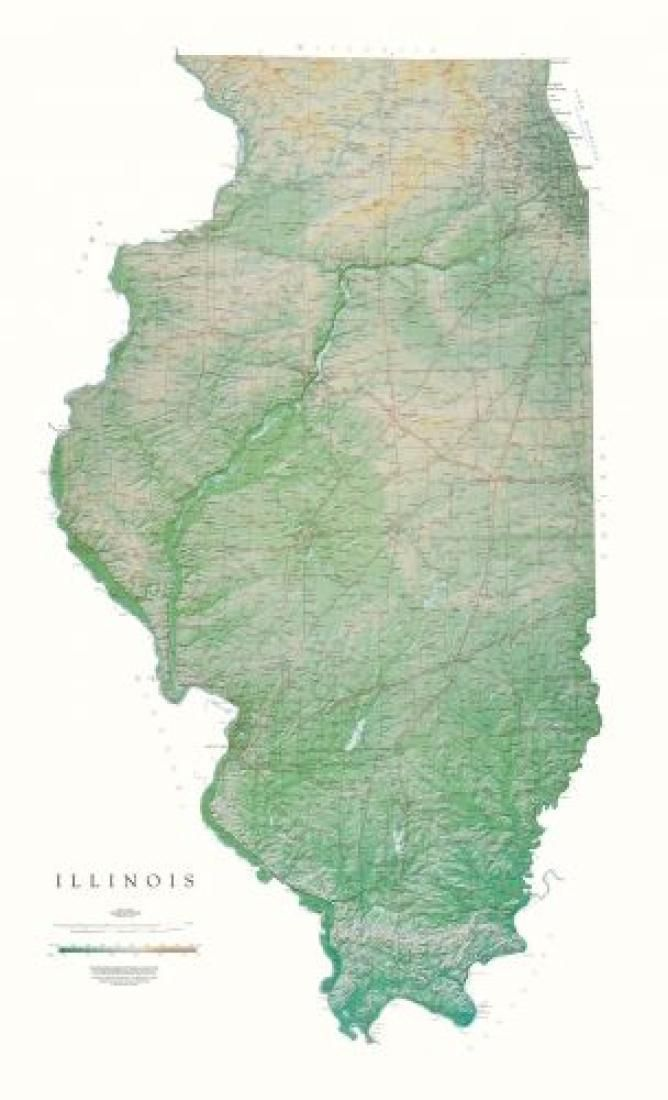 illinois physical laminated wall map by raven maps in on laminated wall maps id=33118