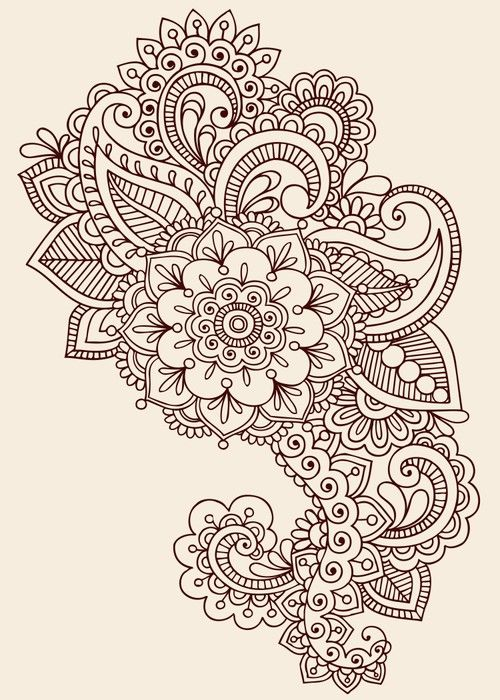 Photo of Ornate Henna Paisley Doodle Vector Design Elements Wall Mural • Pixers® – We live to change