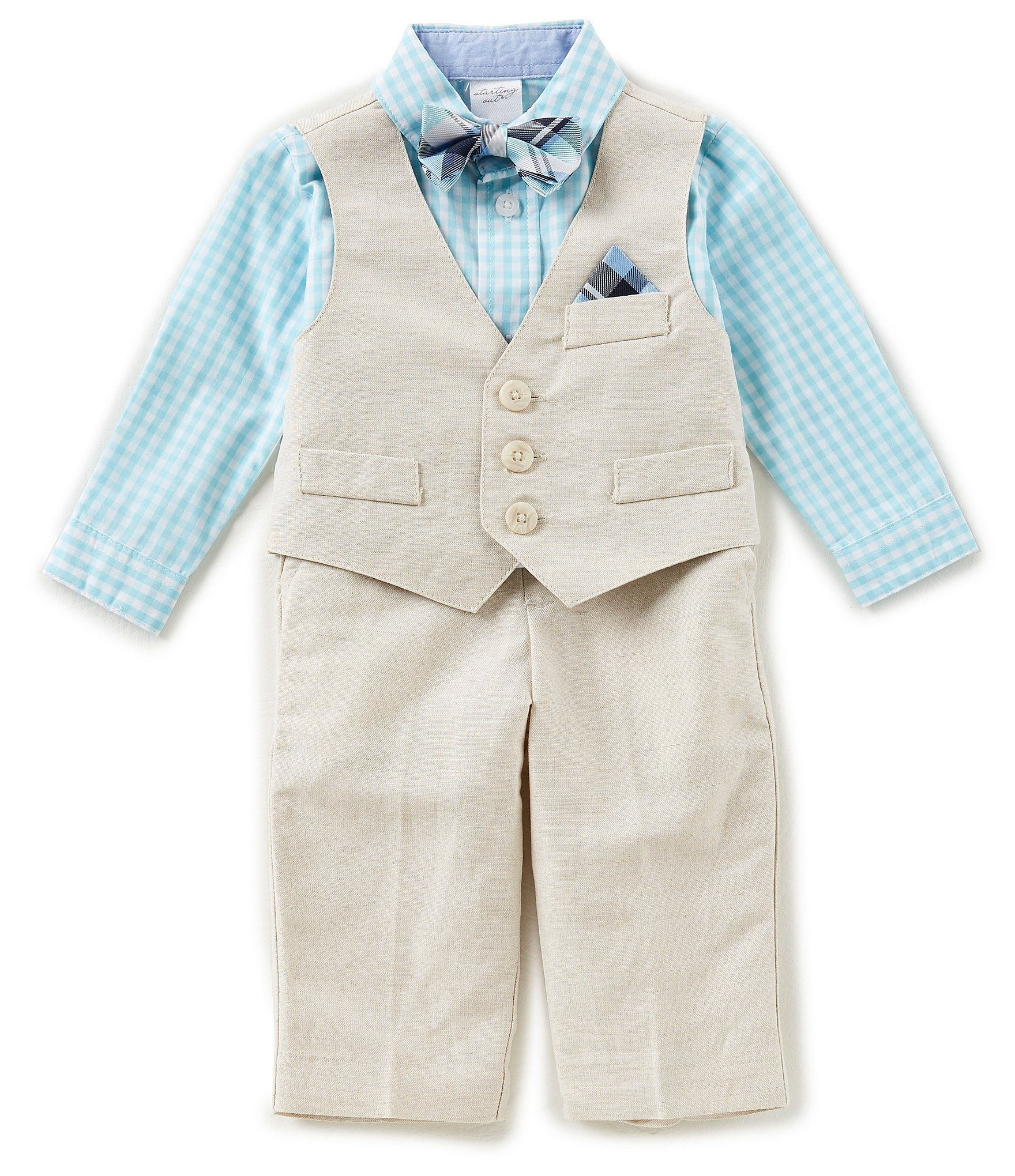 bf2182ebe ring bearer suit - beach wedding - khaki tan beige blue turquoise mint -  Shop for Class Club Little Boys 2T-7 Checked Button-Down Shirt, Vest,  Pants, ...