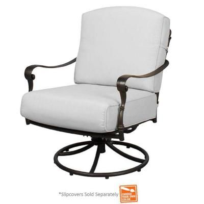 4 Chairs Green Or White Fabric Hampton Bay Edington Patio Swivel Rocker Lounge Chair