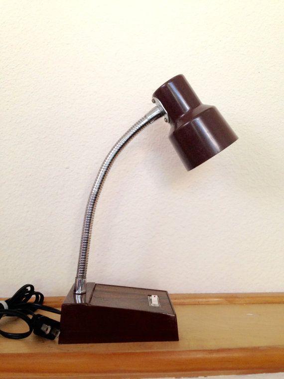 Vintage Brown Desk Lamp Mid Century Table Lamp Retro Gooseneck Tensor Type Lamp Metal Adjustable Lamp Retro Office Lam Retro Table Lamps Lamp Desk Lamp