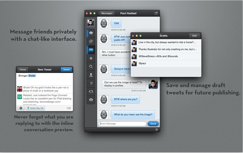 Twitter drafts Messages, Interface, 10 things