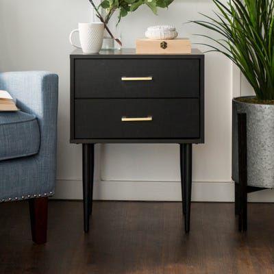 olivia black two drawer side table