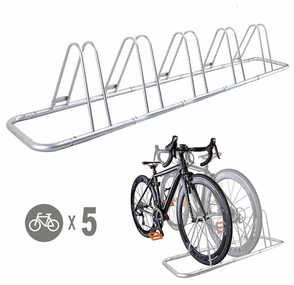 Bicycle Floor Parking Rack 5 Bike Storage Stand Indoor Outdoor