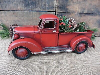 Red Pickup Truck Folk Art Rustic Christmas Decor Vintage Style Metal Toy Pick Up Christmas Red Truck Christmas Truck Rustic Christmas