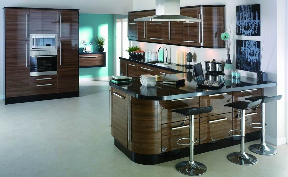High Gloss Lacquer Wood Veneer Kitchen Design Cabinet Picture