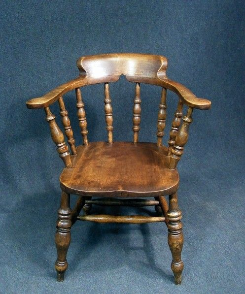 A superb antique elm and beech smokers bow captains desk chair Beautiful  curved back top rail and out swept arms with scrolled handholds Turned  spindle ... - A Superb Antique Elm And Beech Smokers Bow Captains Desk Chair