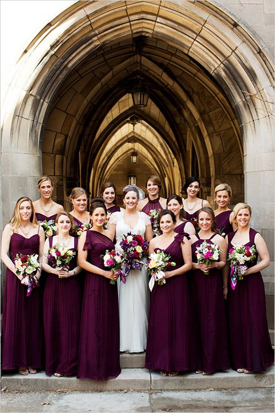 deep fig burgundy coloured bridesmaid dresses | large bridal party | cathedral wedding | bridal party | #weddingchicks