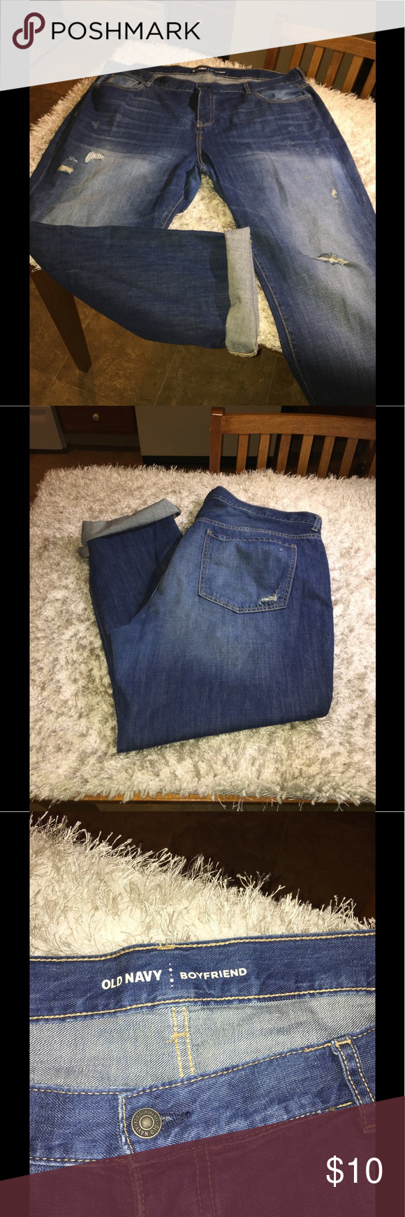 Old Navy Boyfriend Jeans Size 18 Old Navy Boyfriend jeans. Lightly destructed style.  Medium blue rinse color. Size 18. Inseam is 30.5 inches long.  Great condition.   Important:   All items are freshly laundered as applicable prior to shipping (new items and shoes excluded).  Not all my items are from pet/smoke free homes.  Price is reduced to reflect this!   Thank you for looking! Old Navy Jeans Boyfriend