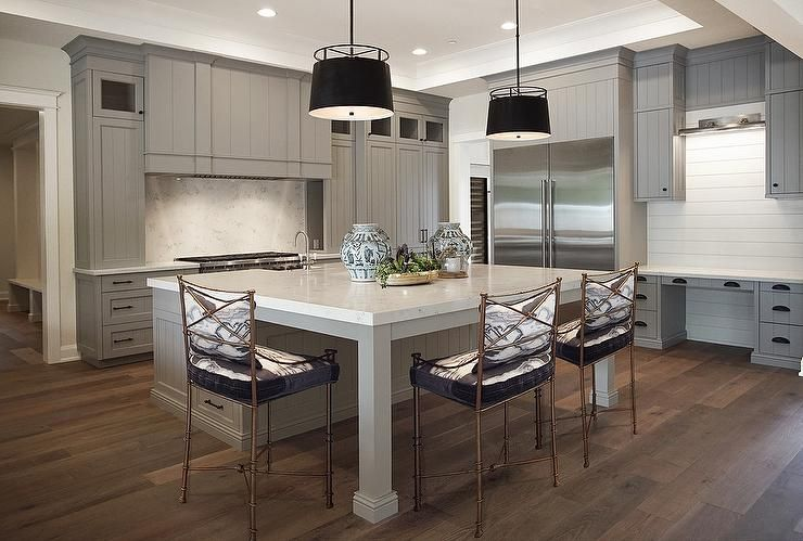 Expansive Gray Kitchen Showcases A Stunning Large Square Center Island Fitted With Legs And A Thic Kitchen Island Quartz Top Square Kitchen Grey Kitchen Island