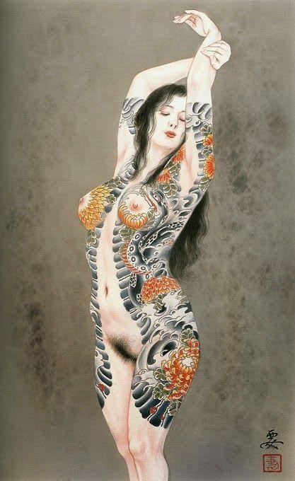 femme japonaise nue tatouée debout