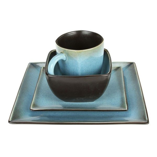 Haus Earthtone Blue Stoneware 16-piece Square Dinnerware Set | For ...