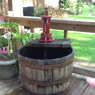 whiskey barrel fountain stuff for outside pinterest