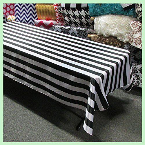 Striped Plastic Tablecloth, X Black
