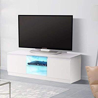 Amazon Com Mecor High Gloss Tv Stand With Led Lights