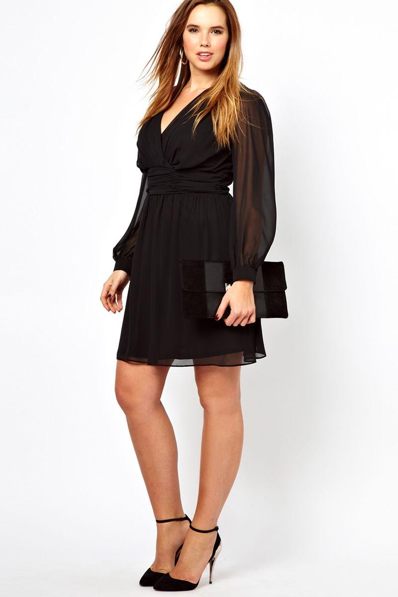 Delicate black chiffon short plus size cocktail dress plus size