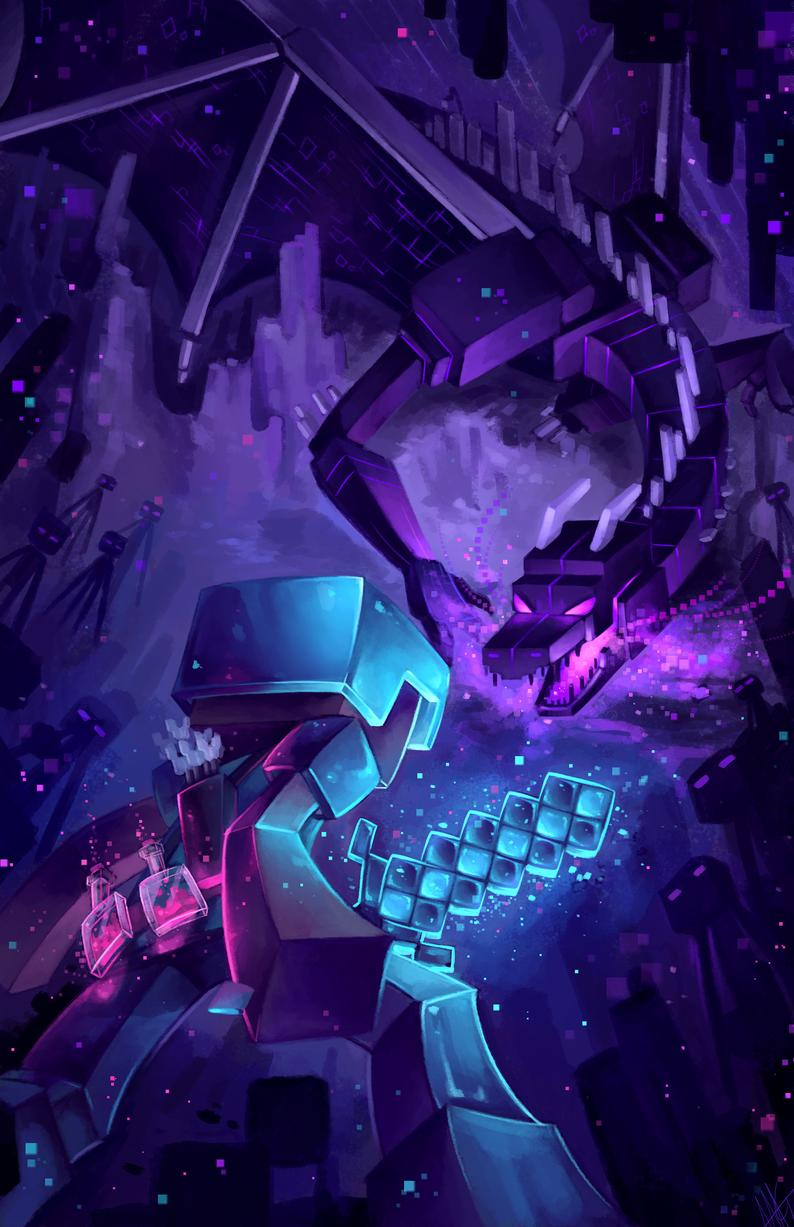 Epic Minecraft The End In 2020 Minecraft Drawings Minecraft Wallpaper Minecraft Pictures
