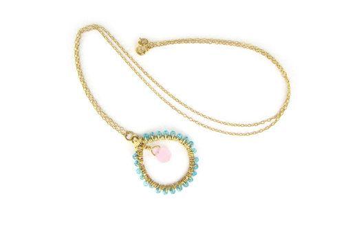 Necklace - Rose Quartz Drop in the Ocean