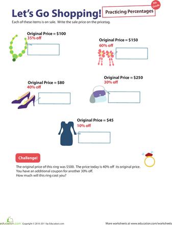 Percent Practice 6 Lets Go Shopping Percentages Pinterest