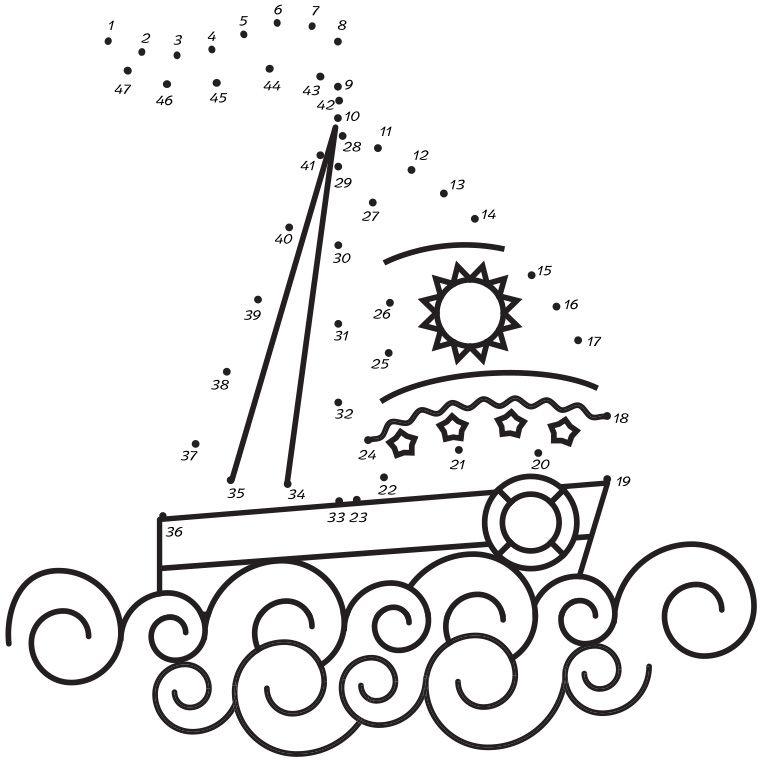 Coloriage jeu de points relier bateau dessin num ro drawings dots et embroidery - Dessin bateau enfant ...