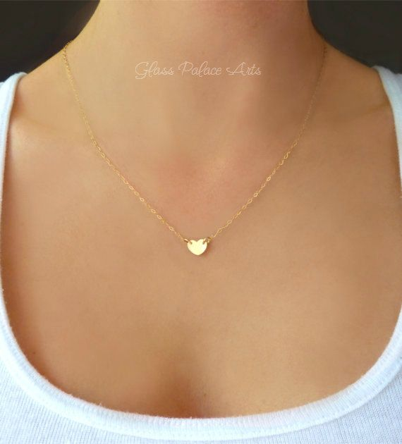 Tiny heart necklace small heart necklace with initial heart tiny heart necklace small gold heart pendant by glasspalacearts aloadofball Choice Image