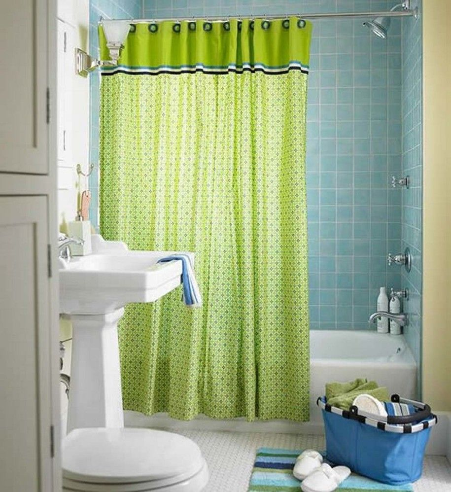 Affordable Contemporary Bathroom Curtains:alluring Trendy Cozy Bathroom  Design With Blue Wall Tiles Green Shower Curtain