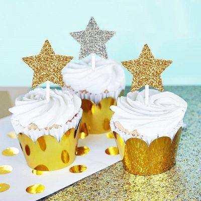 Gold or Silver Glitter Star Stickers (Set of 24)