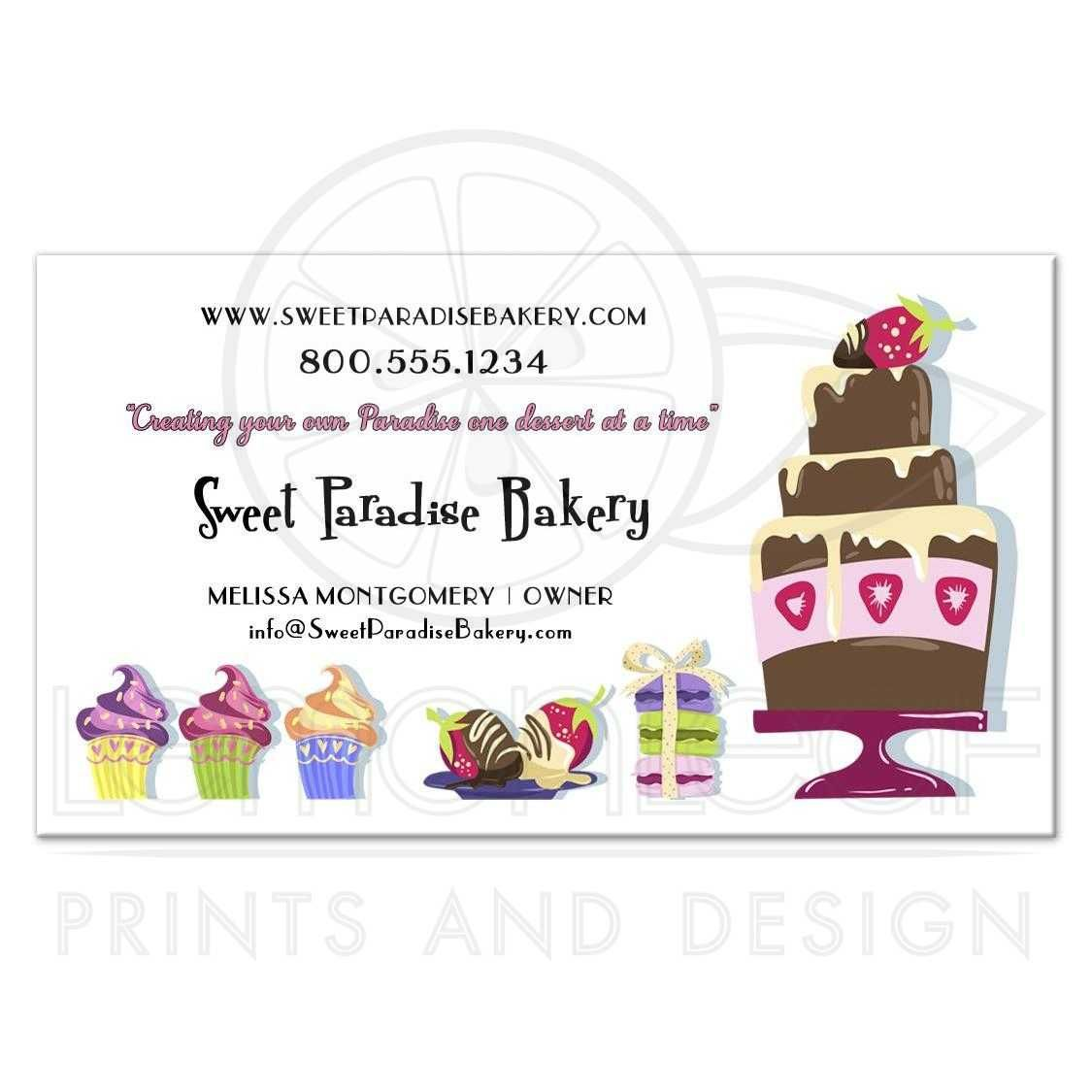 Adorable And Fun Sweet Paradise Professional Bakery Business Cards Bakery Business Cards Free Business Card Templates Cake Business Cards