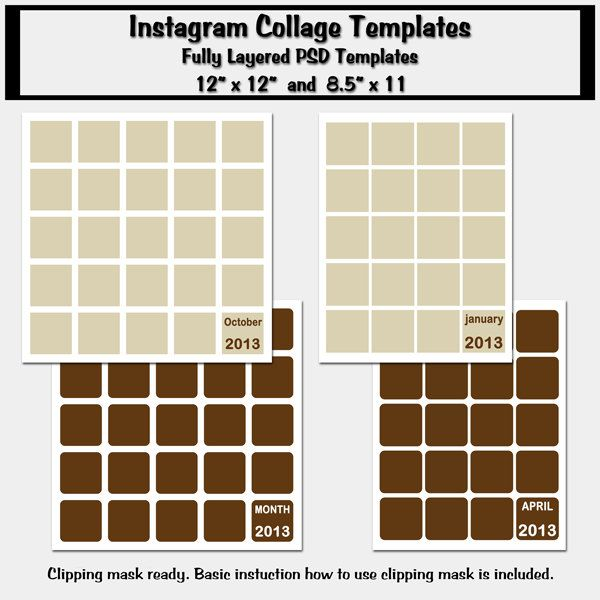 4 Instagram Collage Templates, Album Template, Photo Storyboard ...
