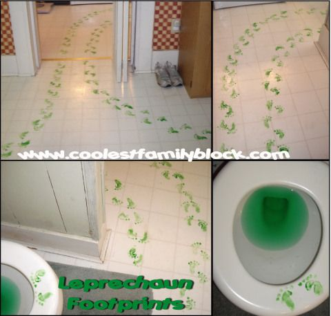 St. Patrick's Day Leprechaun Trickery: A leprechaun left green footprints all over the kitchen and turned the toilet water green! (@Jenn Rian (Coolest Family on the Block) http://www.coolestfamilyontheblock.com)